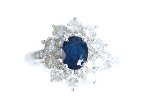 14K WG Kurt Wayne Sapphire & Diamond Ring
