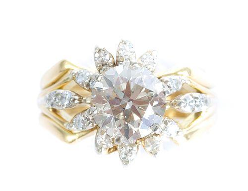 18K Yellow Gold 1.50 CT Diamond Cluster Ring