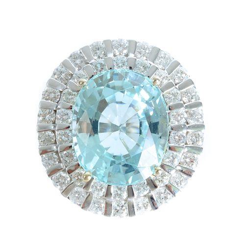 14K WG 12.65 CT Aquamarine Diamond Halo Ring