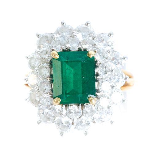 18K YG Emerald Ring w/Double Diamond Halo