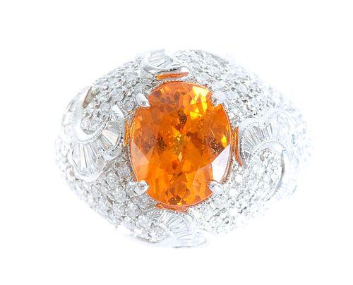 18K WG Orange Spessartite Garnet & Diamond Ring