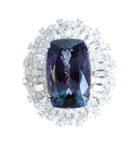 18K WG 15.95 CT Tanzanite & 2.00 CT Diamond Ring