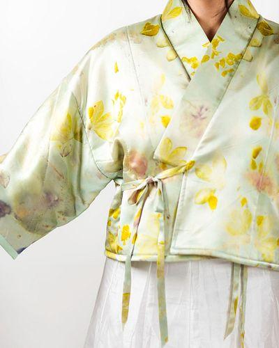 Quilted wrap kimono jacket: Aqua, indigo, marigold