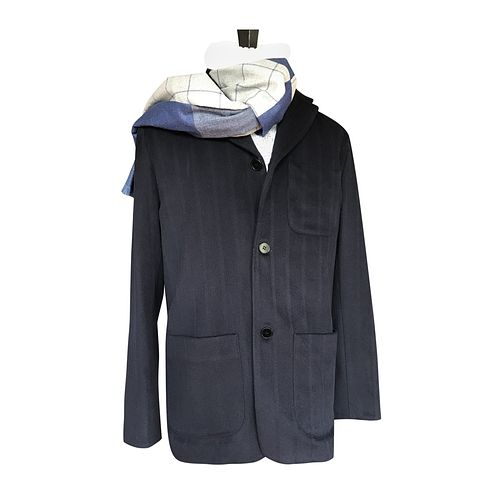 Navy Shadow stripe soft jacket