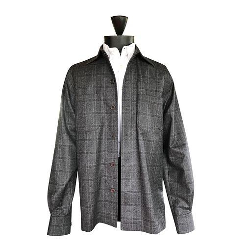 Soft grey Windowpane flannel shirt