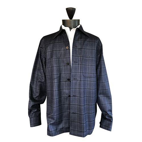 Soft blue melange flannel Windowpaneshirt