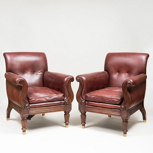 Pair of Regency Style Mahogany and Leather Upholstered Armchairs