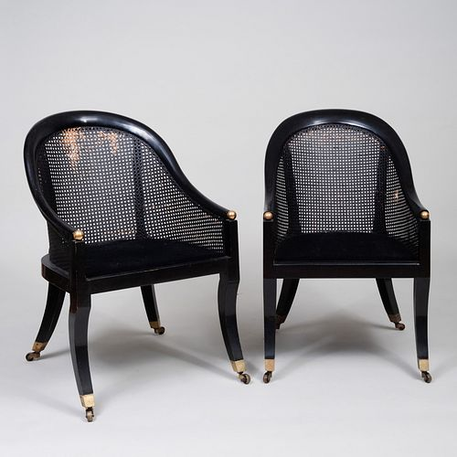 Near Pair of Regency Style Ebonized and Caned Gondole Chairs