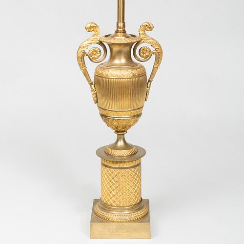 Empire Ormolu Urn Mounted as a Lamp