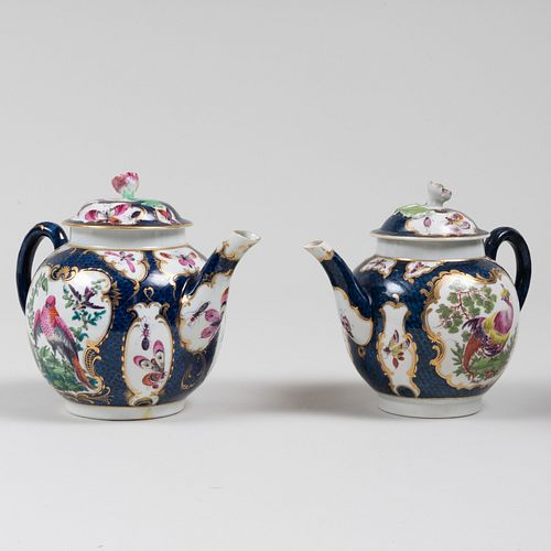 Two Worcester Porcelain 'Blue Scale' Teapots and Covers