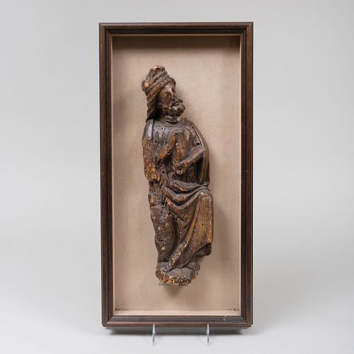 Continental Carved Wood Model of Saint