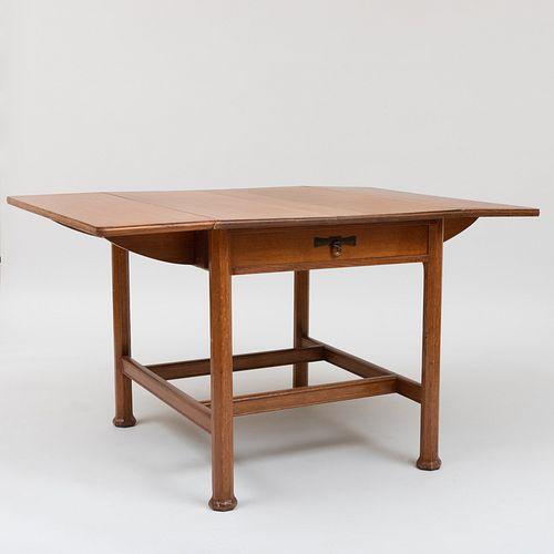 Arts and Crafts Carved Oak Drop Leaf Table