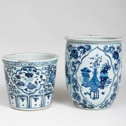 Two Chinese Blue and White Porcelain Jardinères