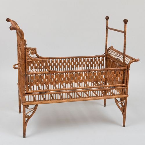 Rare Victorian Wicker Crib, Heywood Bros. & Co.