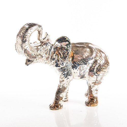 Large Zanfeld Baby Lucky Elephant Silver Sculpture