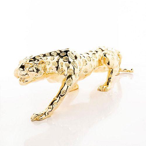Modern Art Gold Animal Statue, Jaguar