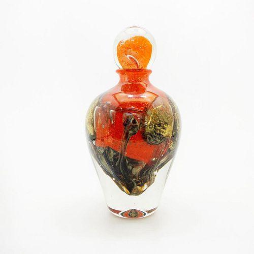 Jean-Claude Novaro Lg Red Glass Bottle Art With Dauber