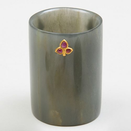 Small Indian Gold and Ruby Inset Jade Cup