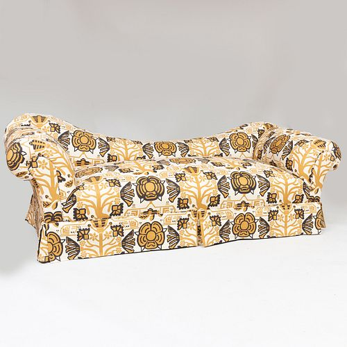 Large Floral Linen Upholstered Sofa, Fabric by Georges Le Manach, Paris