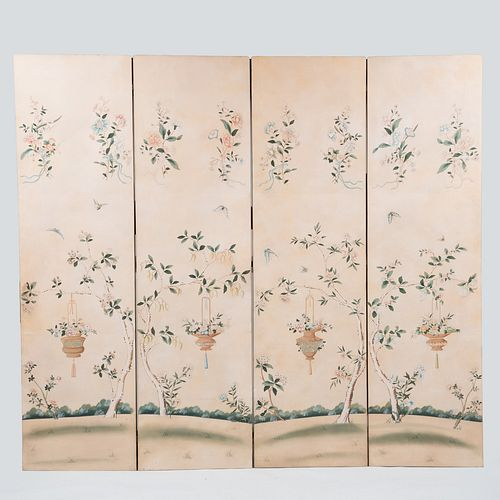Chinese Wallpaper Four Panel Screen, Modern