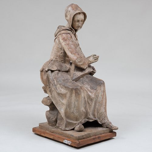 French Painted Terracotta Model of a Woman in Period Costume Playing the Harp