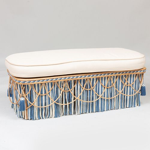 Modern Caned and Reed Upholstered Ottoman, Designed by Toni Facella Sensi