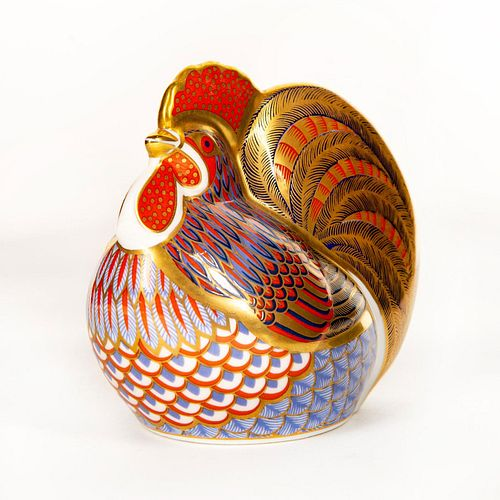 Royal Crown Derby Figural Paperweight, Rooster