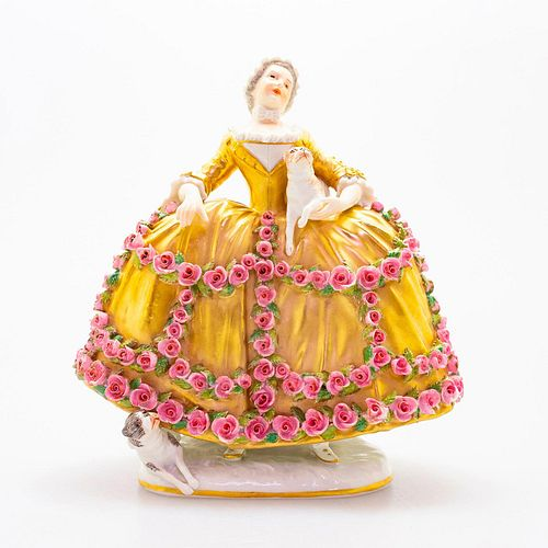 20th Century Sevres Style Figurine, Woman With Dogs