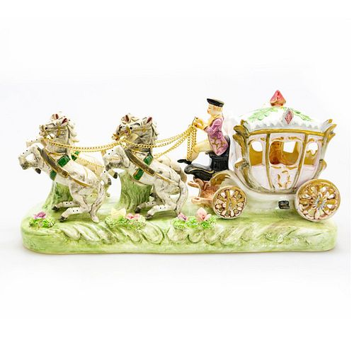 Large Porcelain Figural Group, Horse Drawn Carriage