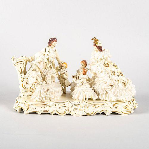 MV Irish Dresden Porcelain Lace Figural Group