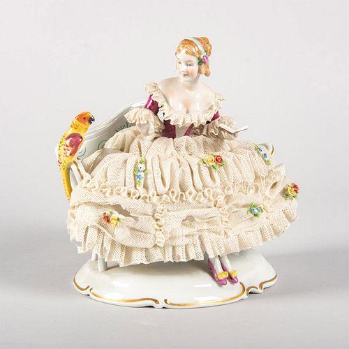 Unterweissbach Porcelain Figurine, Woman With Parrot
