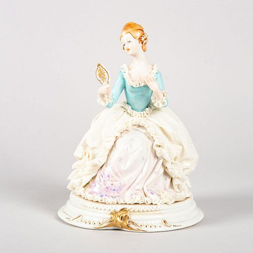 Vintage Capodimonte Style Figurine, Woman With Mirror