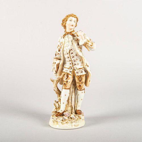 Vintage European Porcelain Figurine, Man Holding A Rose