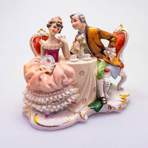 Vintage Porcelain Figure Group, Couple Having Tea