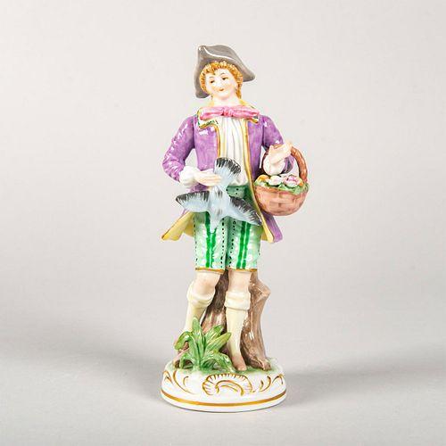 Vintage Porcelain Figurine, Man Holding Flower Basket