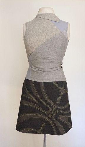 "Grey ""Mask"" Applique, Stretch, A-Line Skirt (SIZE S)"