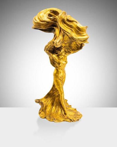 Raoul Larche Iconic Art Nouveau Loïe Fuller the Dancer Gilt Bronze Figure Table Lamp