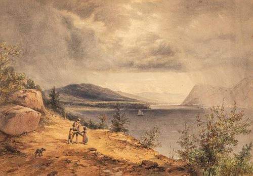 John William Hill signed Watercolor of hudson river narrows by storm king