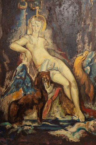 Rene Buthaud circa 1920's signed large oil painting on panel depicting a goddess and winged griffin