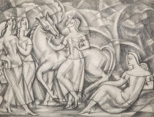 Rene Buthaud circa 1920's signed drawing depicting a goddess and horse with her attendants