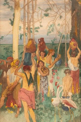 "Pierre Puvis de Chavannes 'Attribitued"" Late 19th Century Gouache Painting"