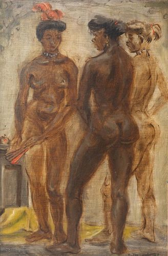 Mid Century Reginald Marsh Three Showgirls, Tempera on board
