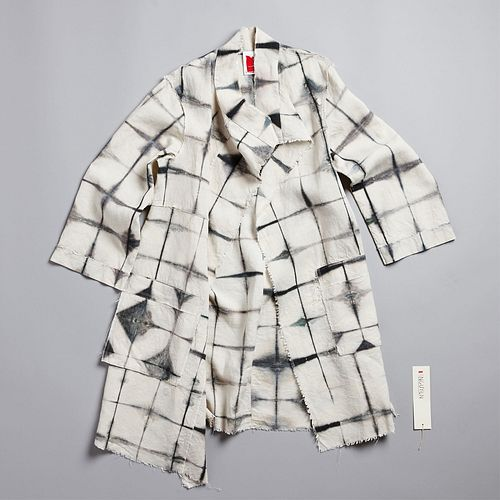 Abstract Squares Merchant Coat in Anthracite
