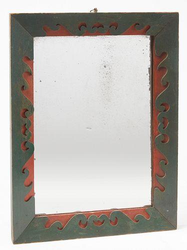 Folk Art Painted & Scrolled Mirror