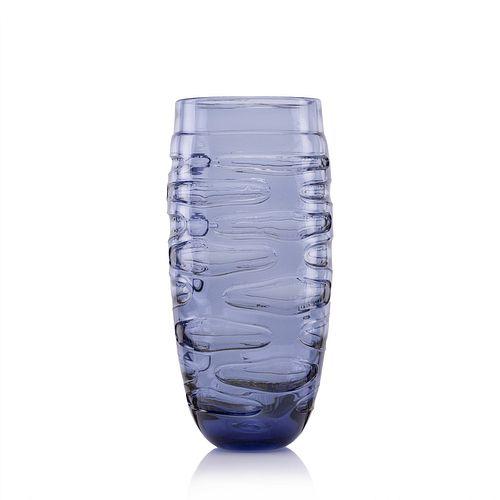 Incision Series Tall Vase-Steel Blue