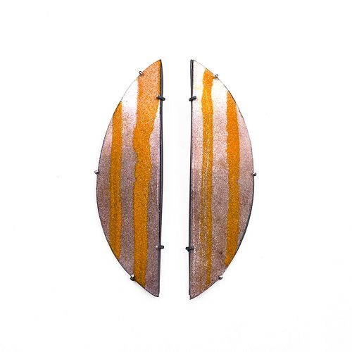 Diptych Earrings, Orange and Mauve Fade
