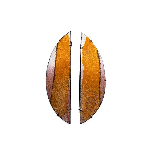 Diptych Earrings, Orange and Mauve Stripe