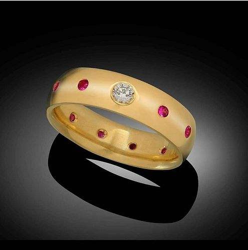 F, VS Diamond and Ruby Gold Ring