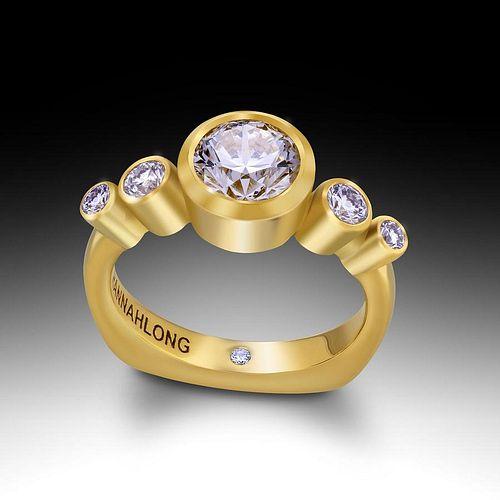 18K Green Gold F, VS Diamond Engagement Ring