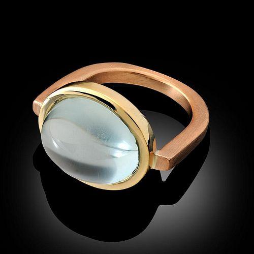 Aquamarine 18K Yellow Gold and 18K Rose Gold Ring